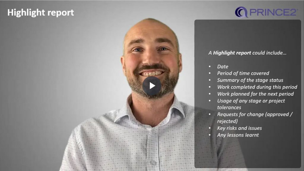 PRINCE2® – 8.2.3 – Highlight report content
