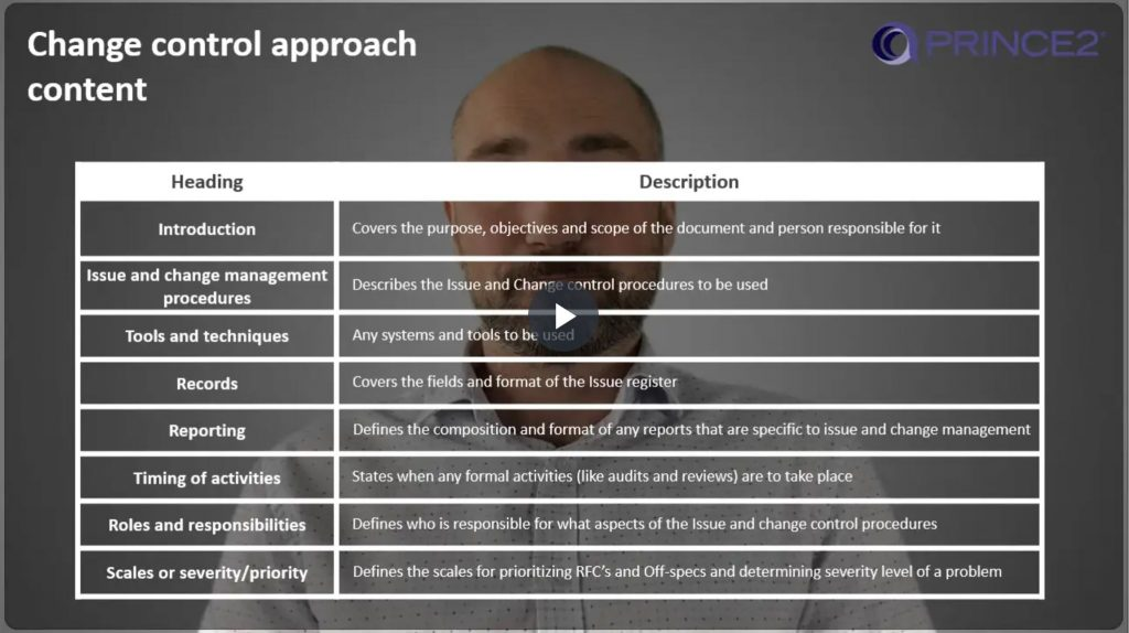 PRINCE2® – 7.3.2 – Change control approach content