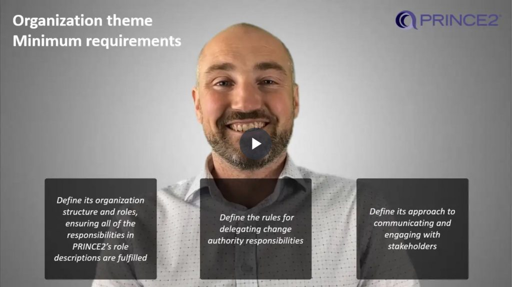 PRINCE2® – 2.1.2 – Organization theme minimum requirements